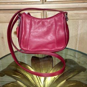 Worthington Red Leather Crossbody Purse Bag